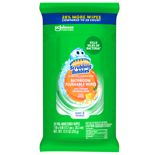 Scrubbing Bubbles® Antibacterial Bathroom Wipes