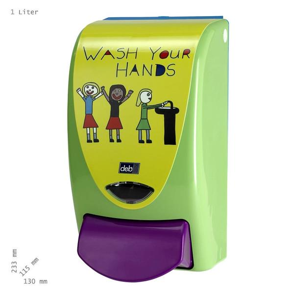 Distributeur 'Now wash your hands'