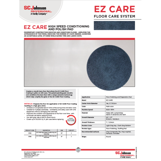 EZ Care Pad Product Information Sheet image