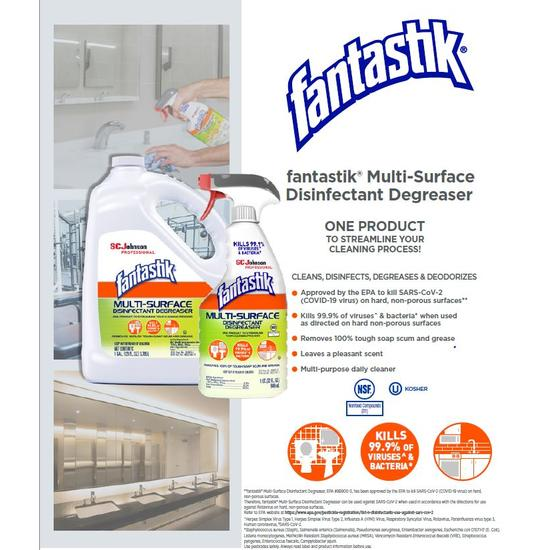 Fantastik® Multi-Surface Disinfectant Degreaser Product Information Sheet