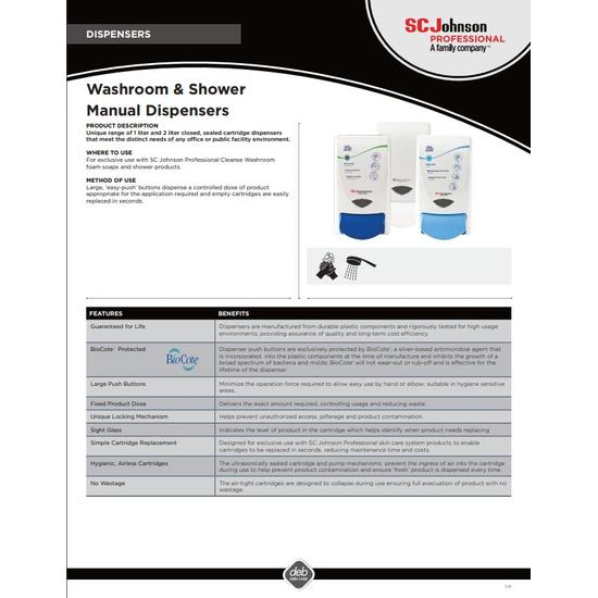 Product Information Sheet Washroom & Shower Dispensers